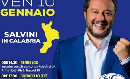 """Salvini: """"In Calabria vinceremo con venti punti di vantaggio"""""""