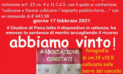 """""""Impianto pubblicitario"""": il Giudice di Pace dà ragione all'Associazione Comitati Civici di Palermo"""